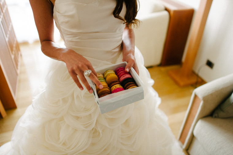 Stylish bride eating cake in Dubrovnik