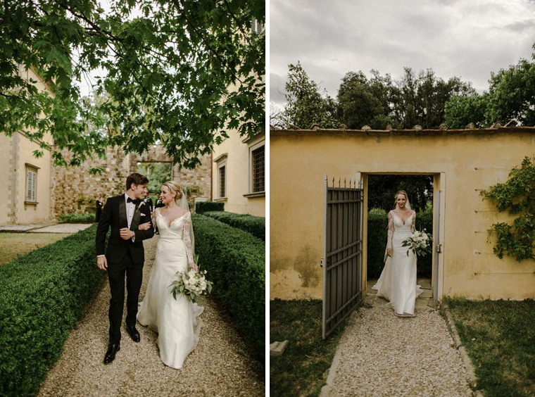 beautiful bride and groom getting married in tuscany