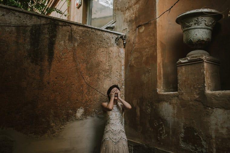 happy bride in rome italy