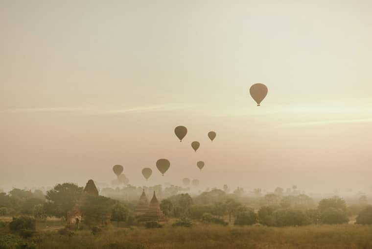 beautiful sunrise in bagan