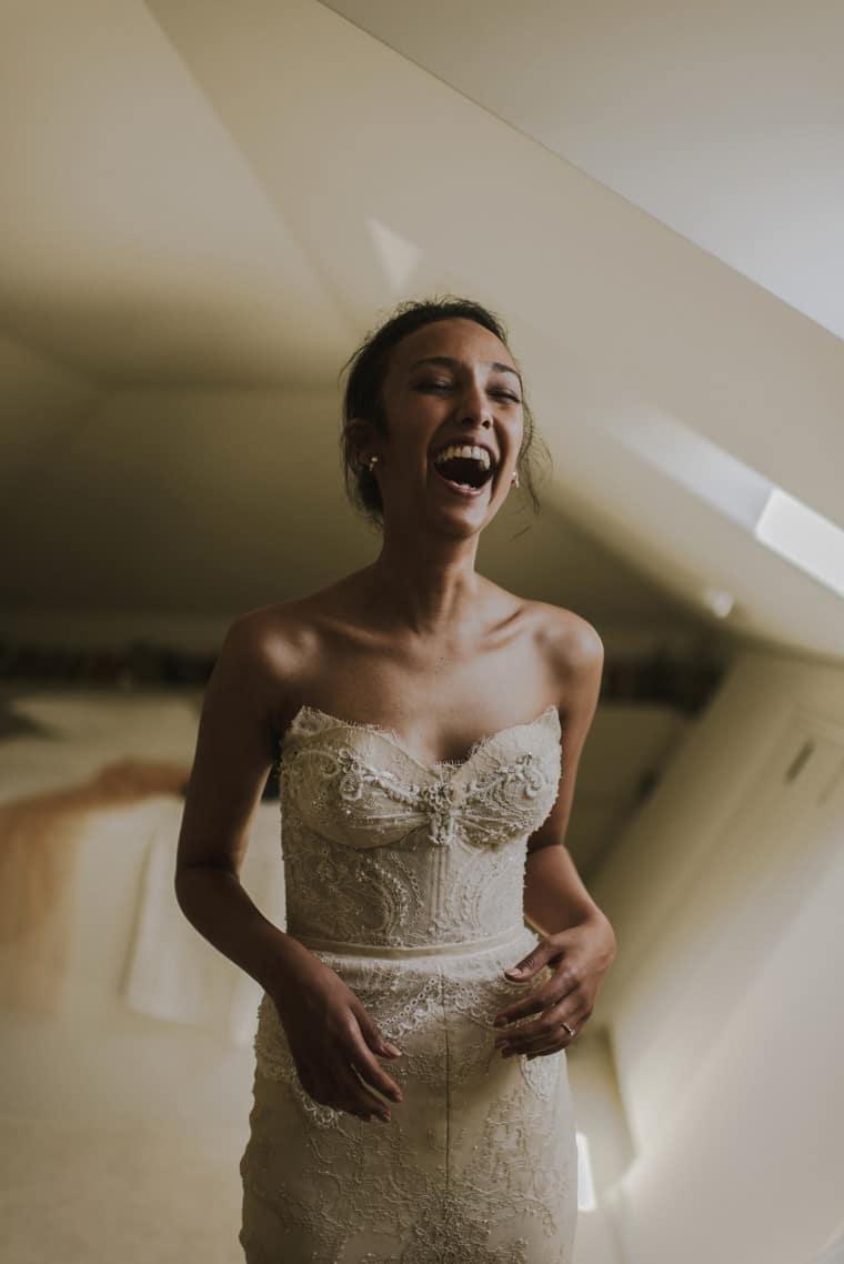 happy bride getting ready in dubrovnik croatia