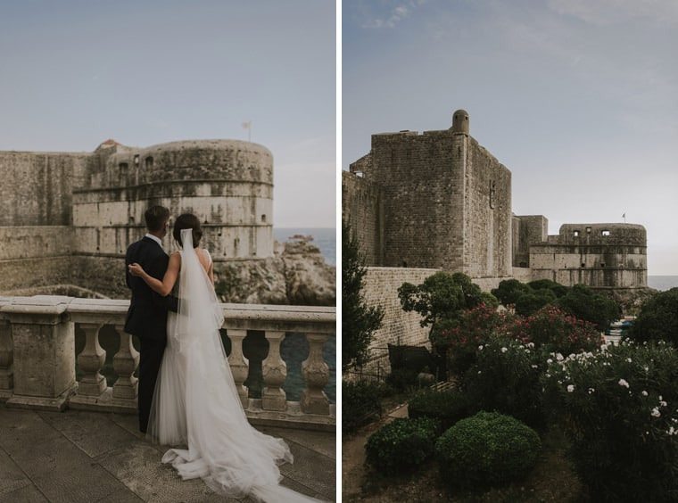 couple in fron of dubrovnik city walls
