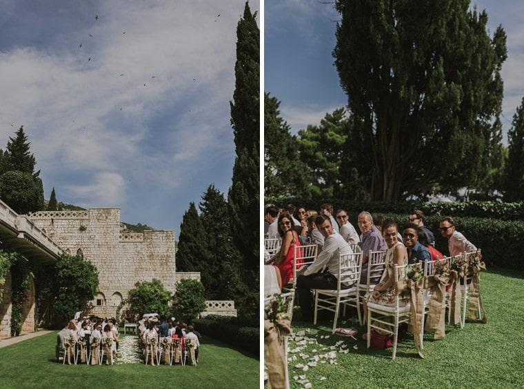 amazing wedding ceremony setup at dubrovnik villa argentina