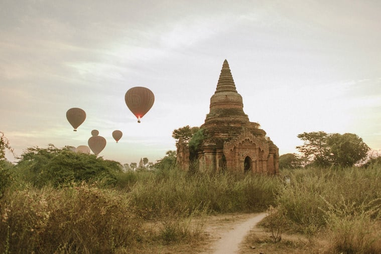 balloons flying over bagan pagodas