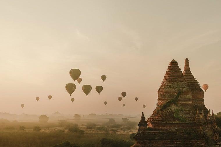 flying hot air balloons in myanmar