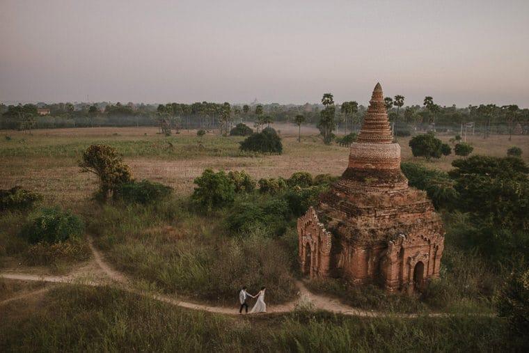 bride and groom going on an adventure in bagan myanmar