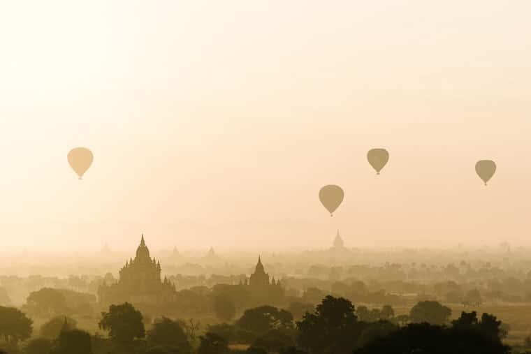 beautiful bagan myanmar at sunrise