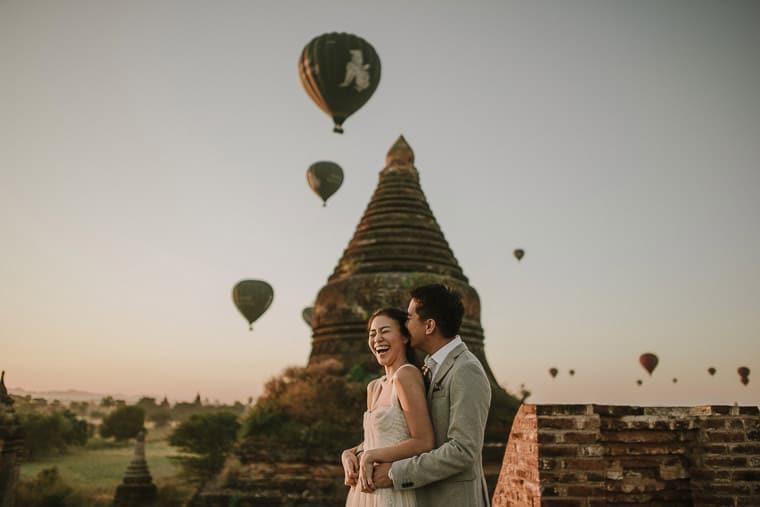 bride and groom having a good time in bagan myanmar