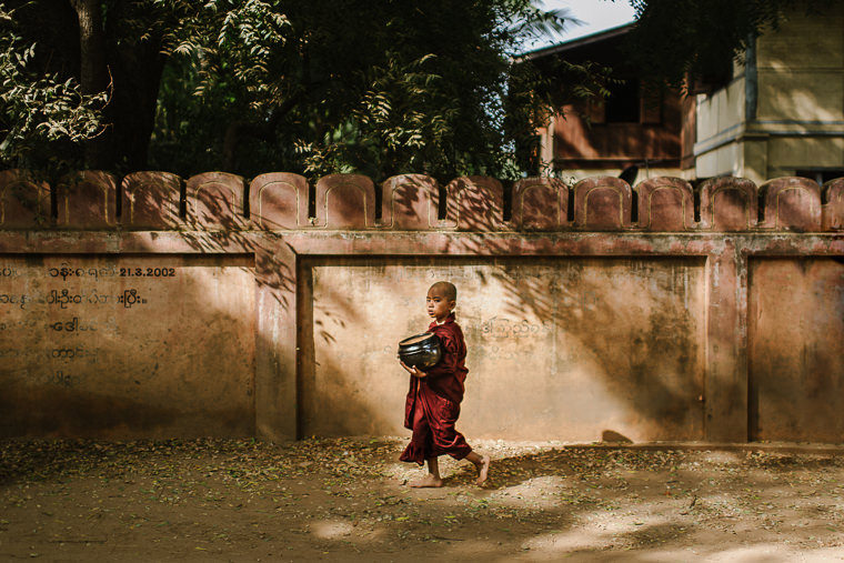 Portrait of a young monk in bagan myanmar