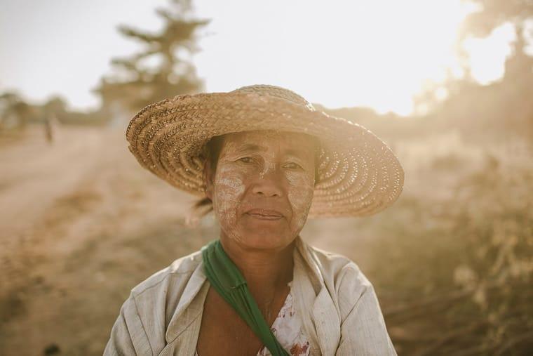Portrait of an elderly lady in bagan myanmar