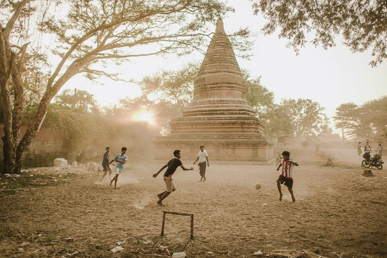 Playing football on the streets of bagan myanmar